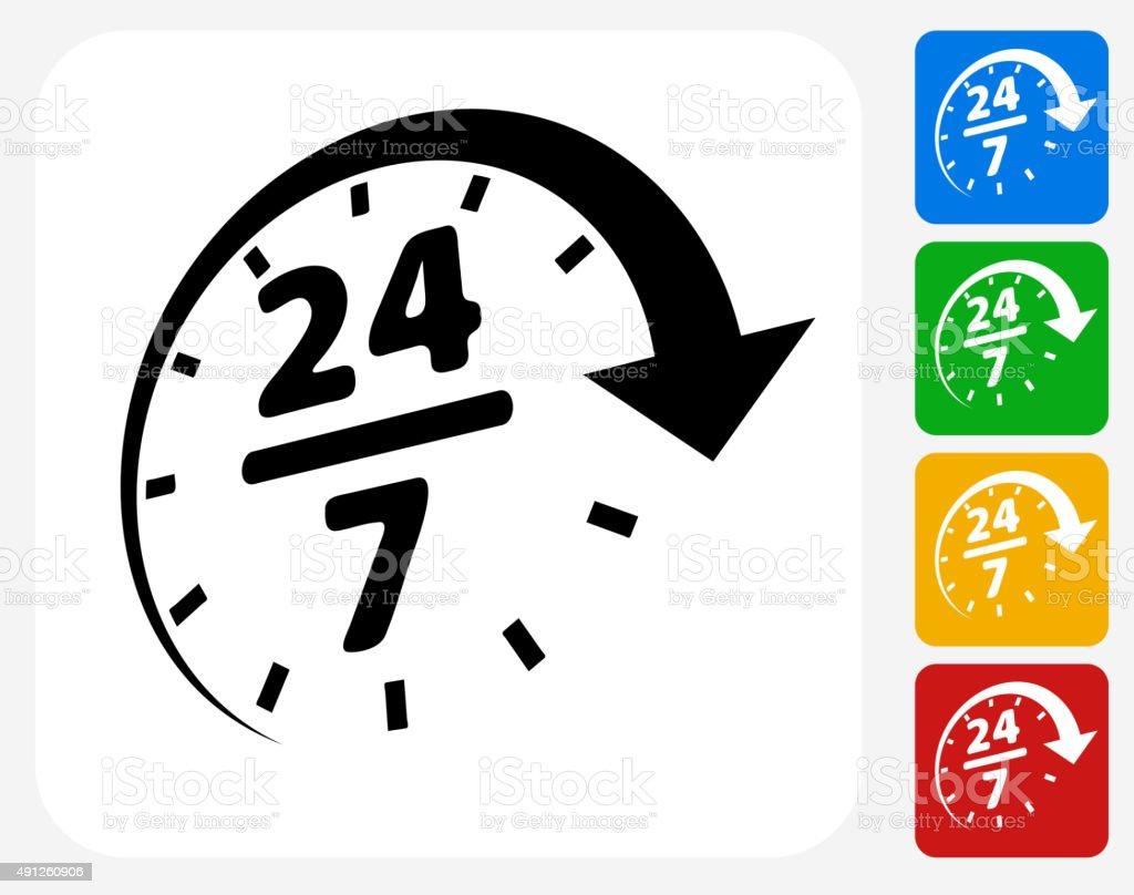 24/7 Service Icon Flat Graphic Design vector art illustration