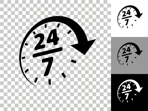 24/7 Service Icon on Checkerboard Transparent Background. This 100% royalty free vector illustration is featuring the icon on a checkerboard pattern transparent background. There are 3 additional color variations on the right..