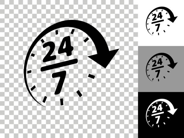 24/7 Service Icon on Checkerboard Transparent Background vector art illustration