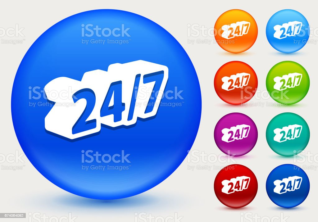 24/7 Service Icon on Shiny Color Circle Buttons royalty-free 247 service icon on shiny color circle buttons stock vector art & more images of assistance