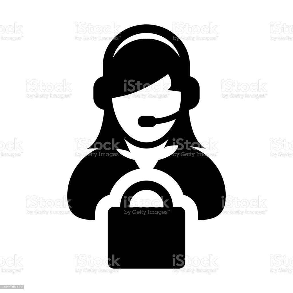 Service Icon Vector Female Operator Person Profile Avatar With