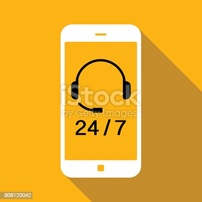 Call centre icon on smart phone. Used Global color