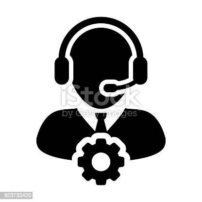 istock Service Icon Vector Male Operator Person Profile Avatar with Headset and Gear Cog Symbol for Industrial Business Support in Glyph Pictogram 923733420