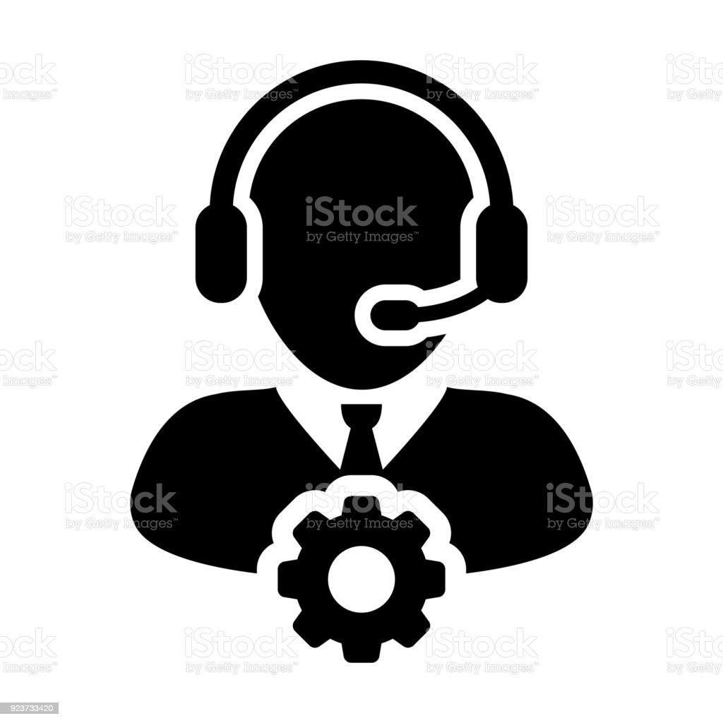 サービスのアイコン ベクトルの男性オペレーター、ヘッドセットおよびグリフ ピクトグラムの産業事業をサポートするギア歯車記号人プロフィールのアバター ベクターアートイラスト