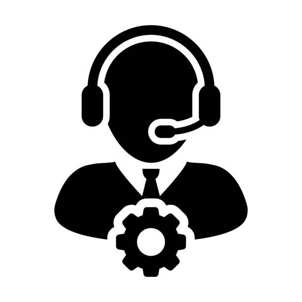 bildbanksillustrationer, clip art samt tecknat material och ikoner med service ikonen vektor manliga operatören person profil avatar med headset och redskap cog symbol för industriella business support i protokollskåror piktogram - it support