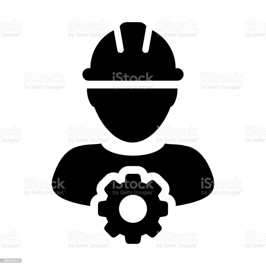 Service Icon Vector male Person Worker Avatar Profile with Gear Cog Wheel for Engineering Support and with Hard Hat in Glyph Pictogram Symbol vector art illustration