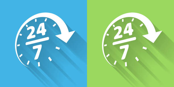 24/7 Service Icon with Long Shadow vector art illustration