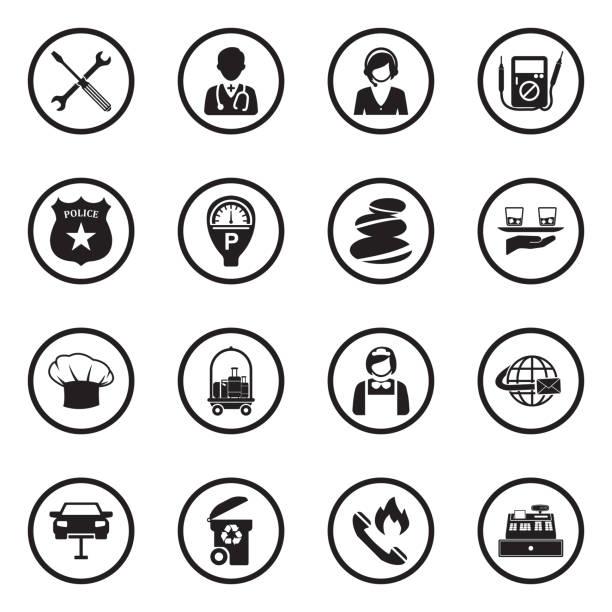 illustrations, cliparts, dessins animés et icônes de icônes de service. black flat design en cercle. illustration de vecteur. - bureau police