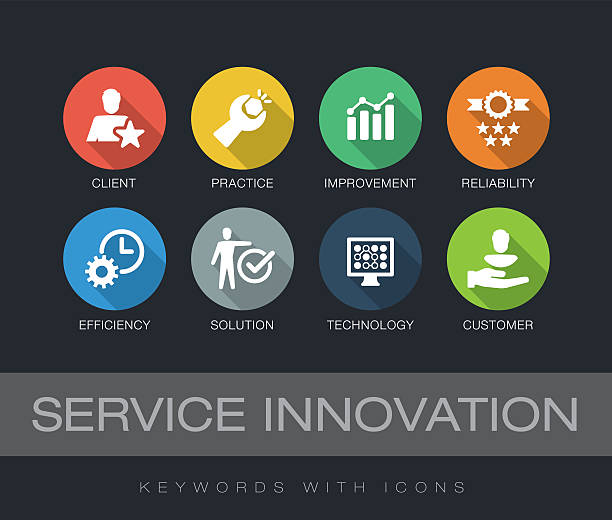 service innovation keywords with icons - 긴 그림자 디자인 stock illustrations