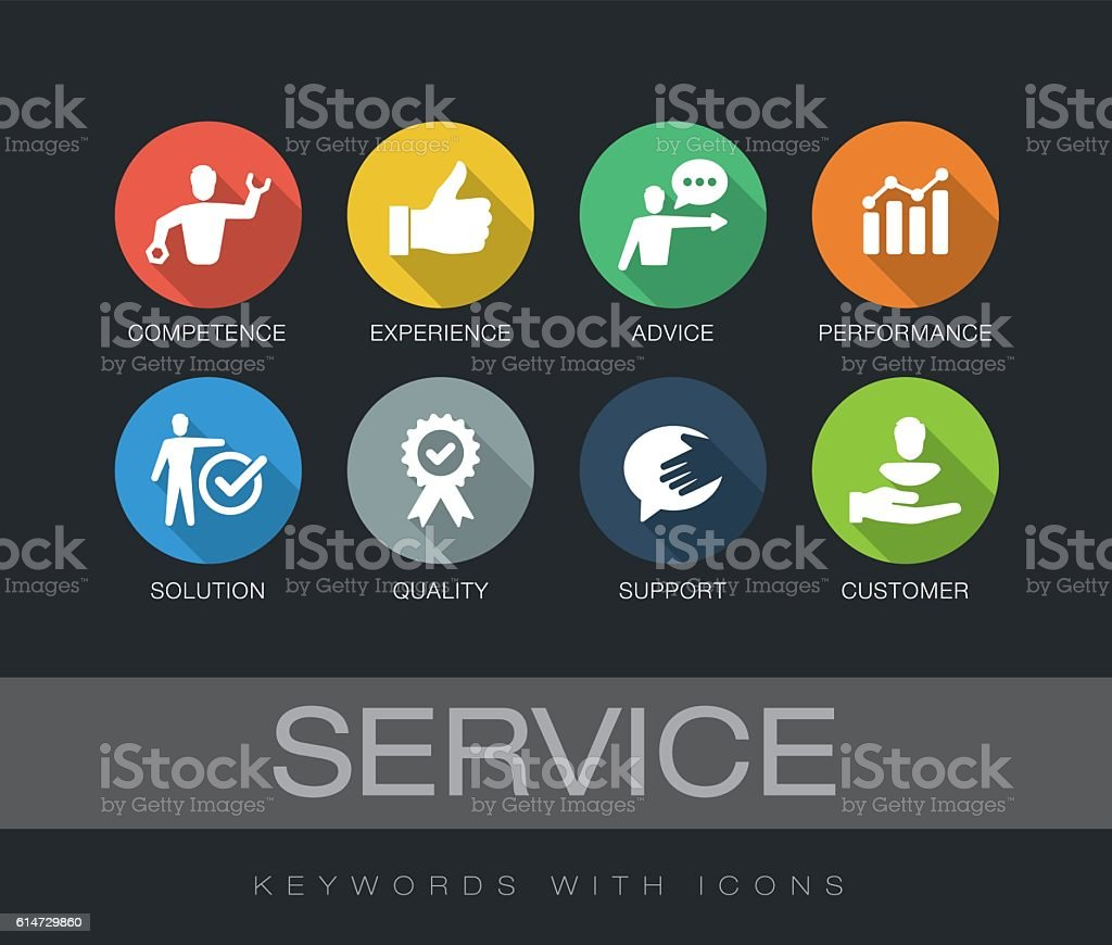 Service keywords with icons vector art illustration