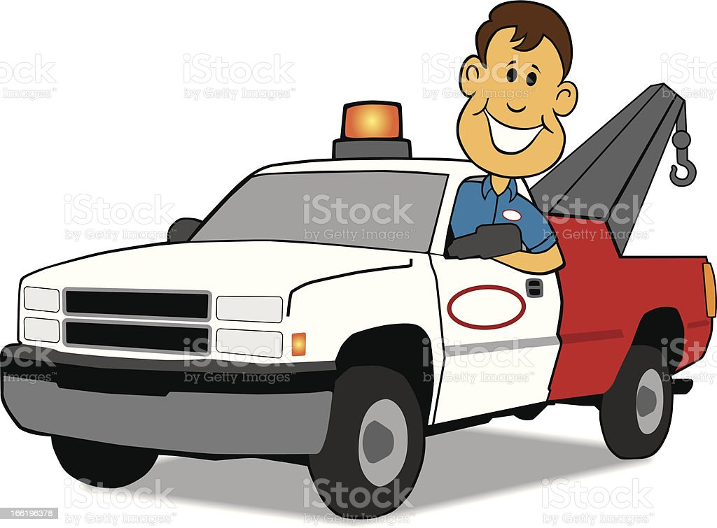 Service Man and Tow Truck royalty-free stock vector art