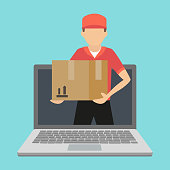 Service of fast delivery. Express delivery courier service. Man courier with box in his hands.