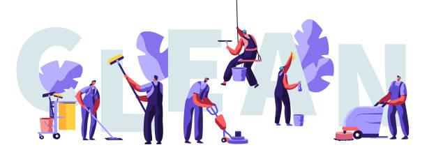 service von professional cleaners work concept. charaktere in uniform mit reinigungsgeräte, mopping, vakuumboden, rub, fließplage, banner, flyer, broschüre. cartoon-flach-vector-illustration - fenster putzen stock-grafiken, -clipart, -cartoons und -symbole