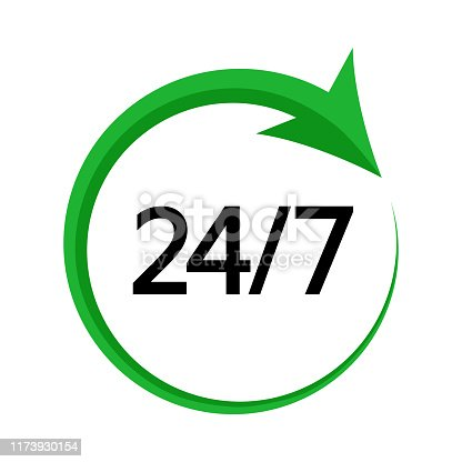 24/7. Service open 24h hours day and 7 days a week. Green and black colors. Vector illustration