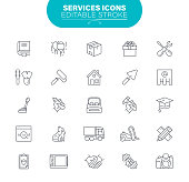 Cleaning, Services, Transportation, Distribution Warehouse, Delivering, Outline Icon Set