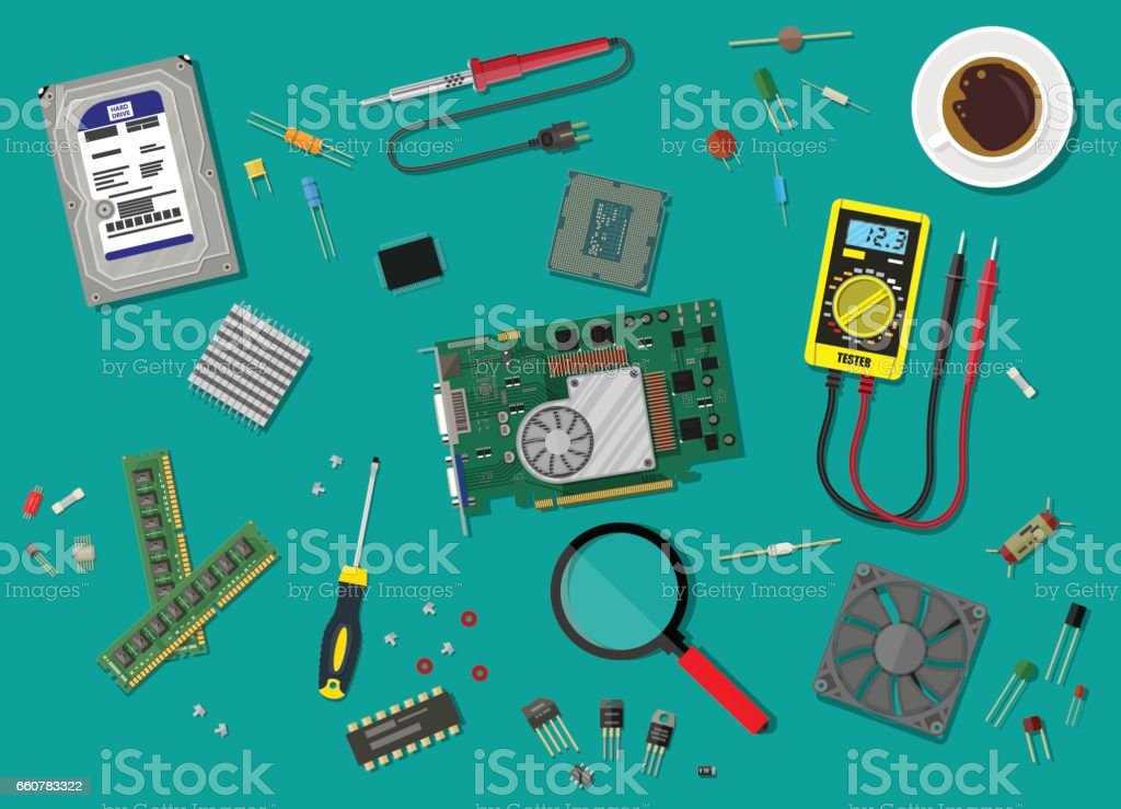 PC service. Personal computer hardware. vector art illustration