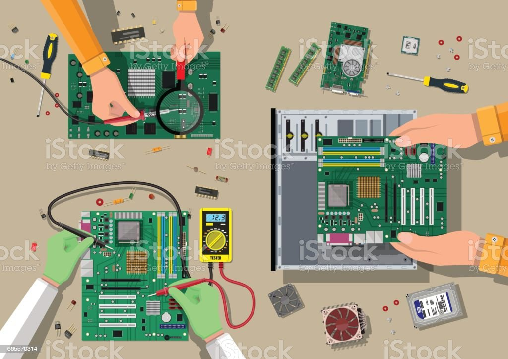 Service, recovery, warranty, fixing. Assembling PC vector art illustration