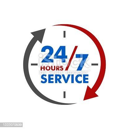 24/7 Service Signage Template Illustration Design. Vector EPS 10.