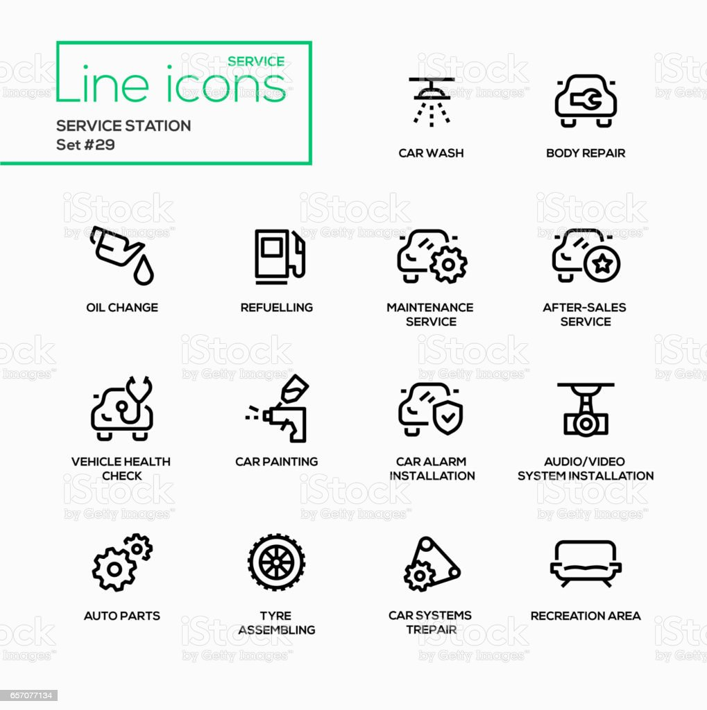 Service station - modern vector single line icons set vector art illustration