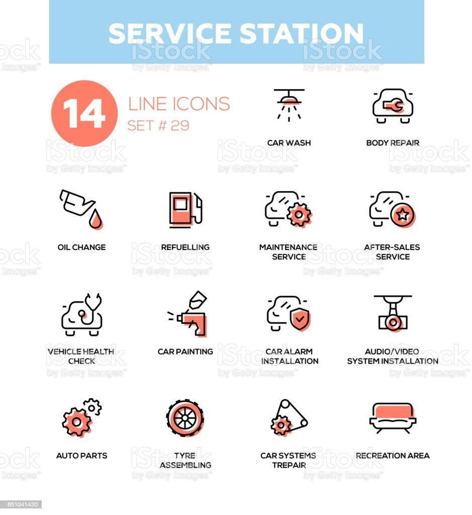 Service station - modern vector single line icons set vector art illustration