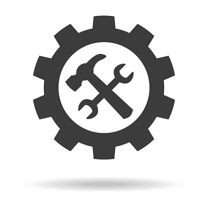 흰색 바탕에 서비스 도구 아이콘입니다 강철에 대한 스톡 벡터 아트 및 기타 이미지