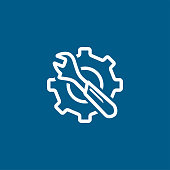 Service Tools Blue Line Icon On White Background. Blue Gear Wheel & Hammer Flat Style Vector Illustration.