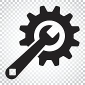 Service tools flat vector icon. Cogwheel with wrench symbol illustration. Business concept simple flat pictogram on isolated background.