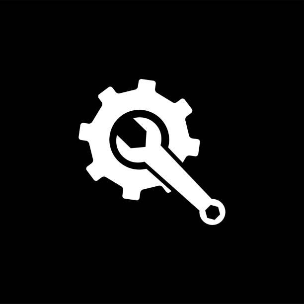 bildbanksillustrationer, clip art samt tecknat material och ikoner med ikonen för service verktyg på svart bakgrund. gear wheel & hammer svart platt stil vektor illustration. - wheel black background