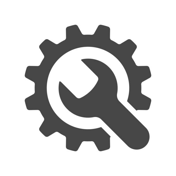 service tools icon on white background. vector illustration. - tools stock illustrations