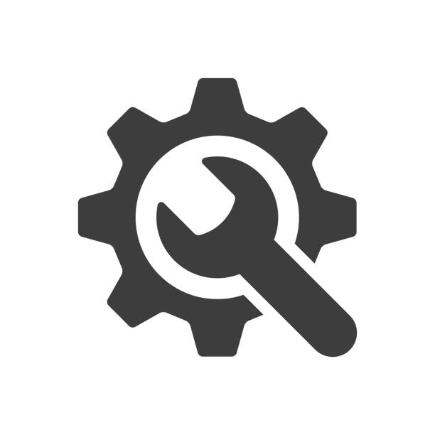 ikona narzędzi serwisowych na białym tle. ilustracja wektorowa - klucz stock illustrations