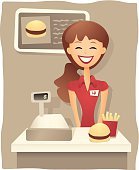 A smiling young woman working the cash register at a fast food counter.