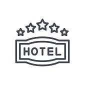 Service Work Hotel Line Icon 5 Star Sign