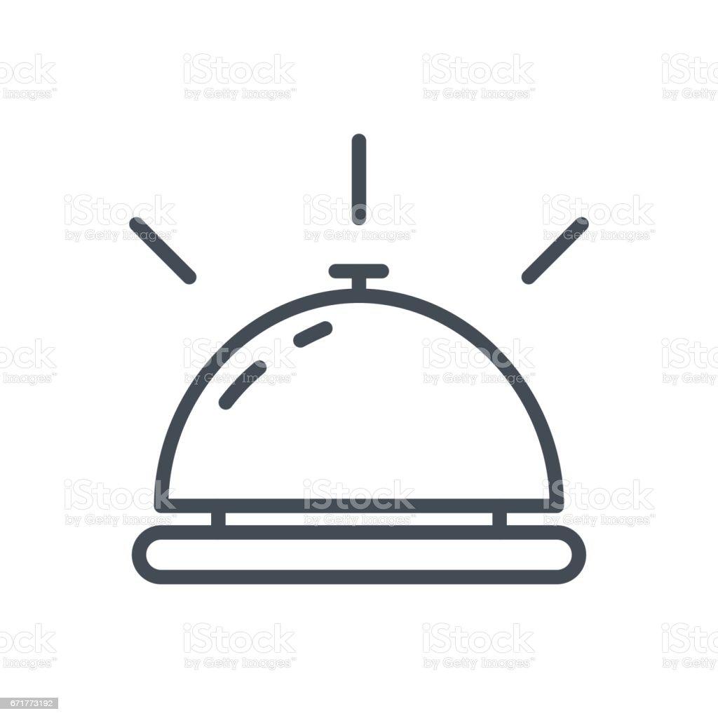 Service travaux hôtel ligne icône Bell - Illustration vectorielle