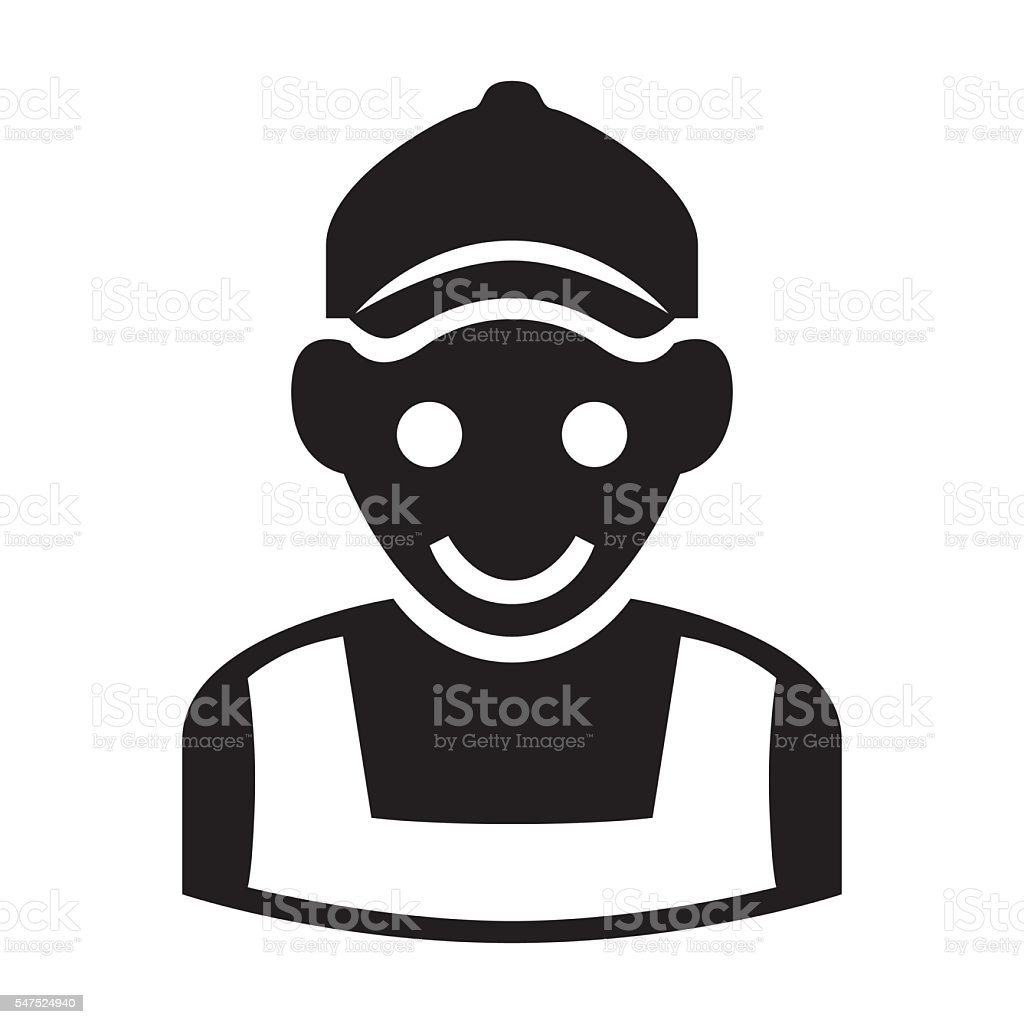 Service - worker, builder man icon vector art illustration