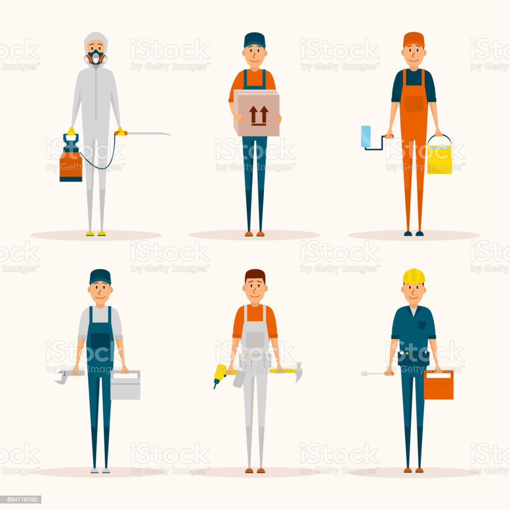 Service Workers Cartoon Characters Vector Set Delivery Man