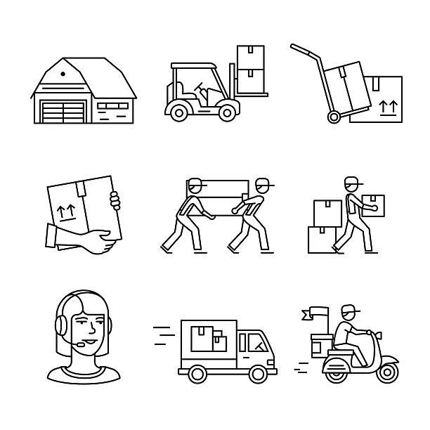 illustrazioni stock, clip art, cartoni animati e icone di tendenza di services and delivery transportation signs set - portare