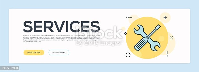 istock Services Concept - Flat Line Web Banner 867707994