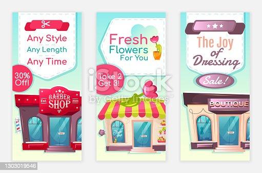 Services discount flyers flat vector templates set. 30 % off barbershop printable leaflet design layout. Flower shop special offer. Boutique sale advertising web vertical banner, social media stories