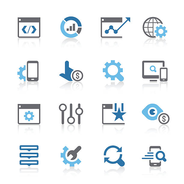SEO Services Icons | azur series vector art illustration