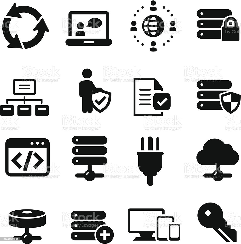 IT Services  Icons - Black Series vector art illustration