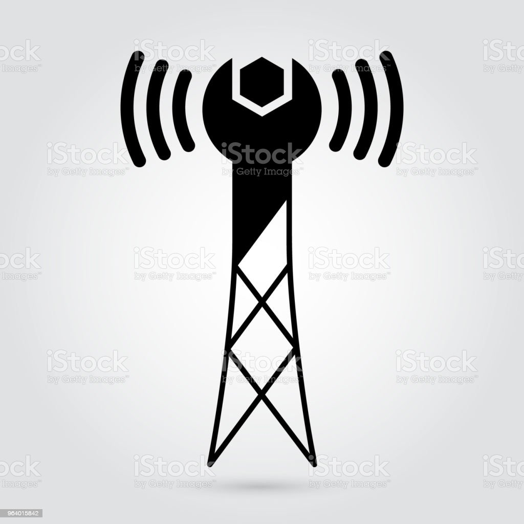 IT services logotype branding - wireless networks repairs and solutions concept - Royalty-free Antenna - Aerial stock vector