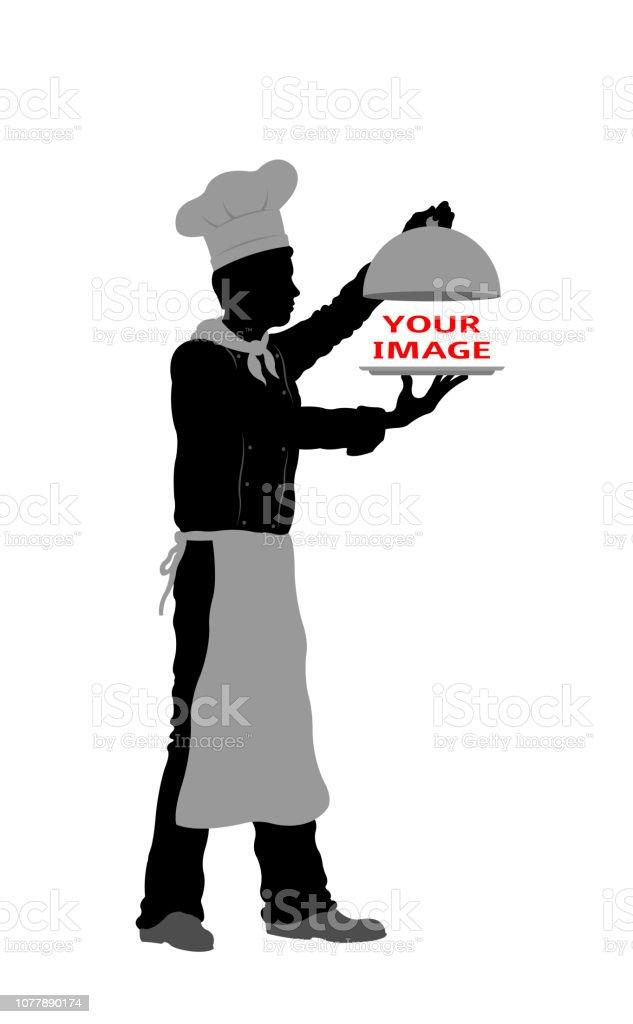 シェフのシルエットと料理を提供 ベクターアートイラスト