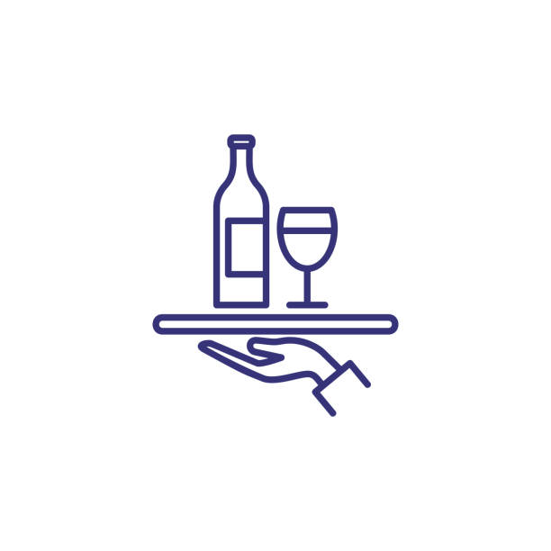 illustrazioni stock, clip art, cartoni animati e icone di tendenza di serving wine line icon - aperitivo