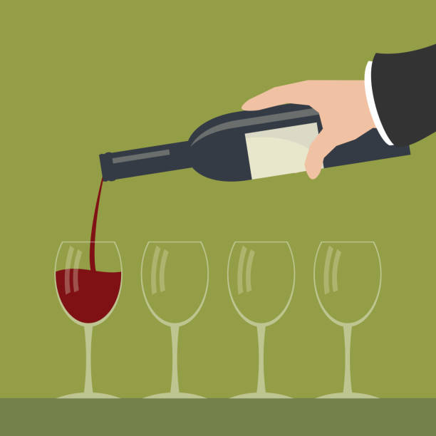 Serving wine. Pouring out red wine from a bottle in wineglasses. Simple flat vector illustration. sergionicr stock illustrations