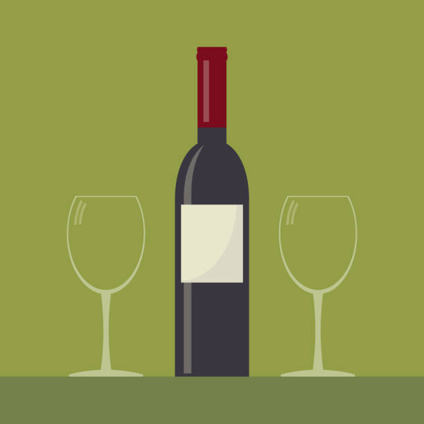 Serving wine. Wine bottle and two empty wine glasses . Serving wine. Simple flat vector. sergionicr stock illustrations