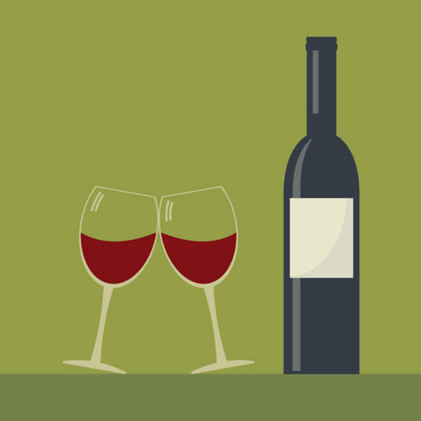 Serving wine. Wine bottle and two clink glasses wine glasses . Serving wine. Simple flat vector. sergionicr stock illustrations