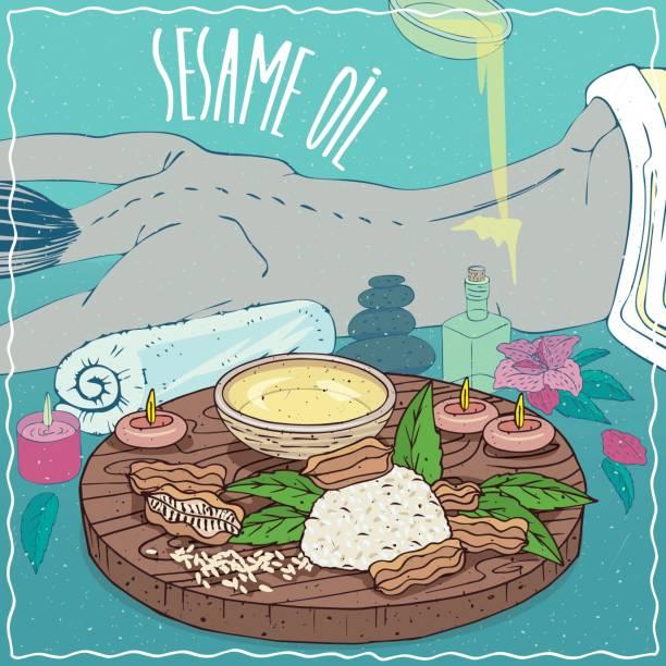 illustrazioni stock, clip art, cartoni animati e icone di tendenza di sesame oil used for body massage - china drug