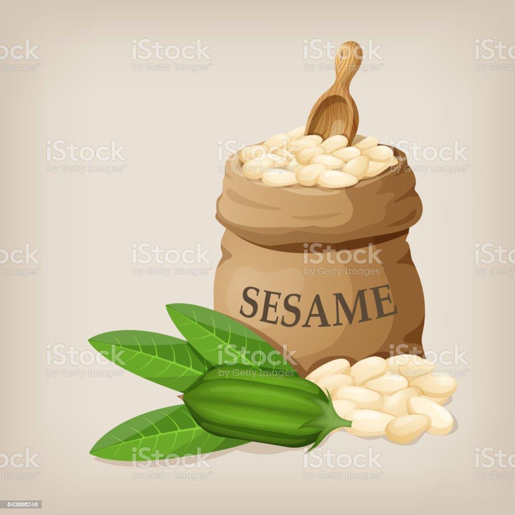 Sesame seeds in sack. Full burlap bag with sesame seeds. vector art illustration