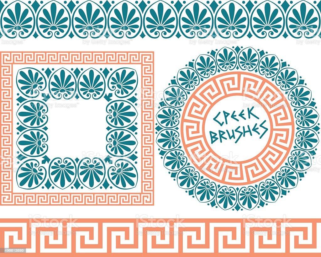 Set 1 Brushes Greek Meander patterns vector art illustration