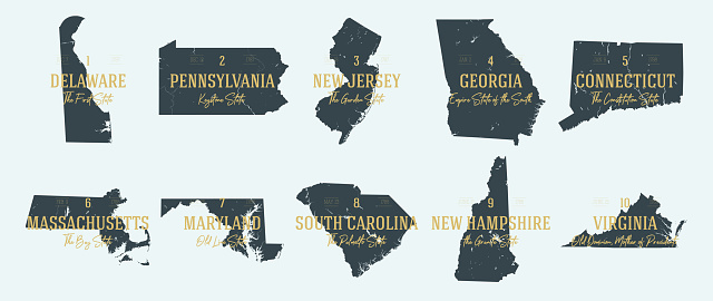 Set 1 of 5 Highly detailed vector silhouettes of USA state maps with names and territory nicknames